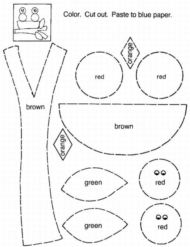 Color, Cut And Paste Bird Nest For Kids. It's a Color, Cut