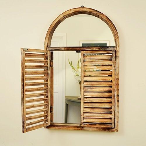 Indoor Decorative Wooden Arch Window Shutter Shuttered