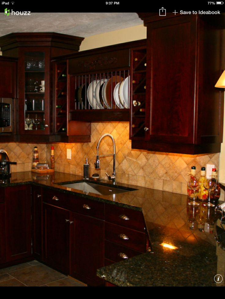 Im really liking this look Dark cherry cabinets uba