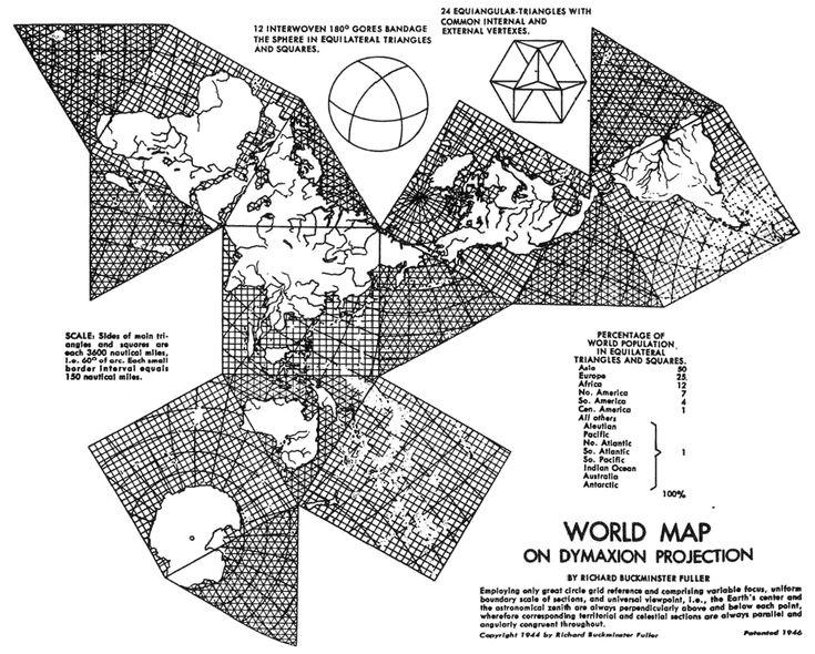 World Map on Dymaxion Projection by Richard Buckminster