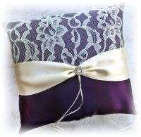 Wedding Ring Bearer Pillow eggplant purple and ivory lace