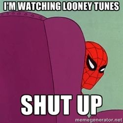 Image result for old person watching looney tunes meme