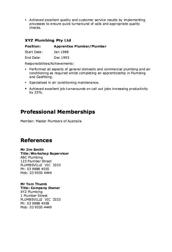 Master Plumber Resume Example Resumesdesign Com
