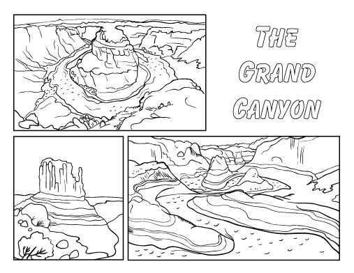Printable Grand Canyon coloring page. Free PDF download at