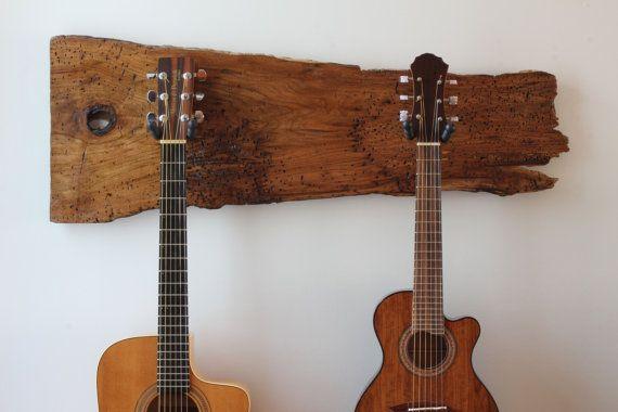 Beautiful rustic wood guitar hanger by WoodRustic on Etsy