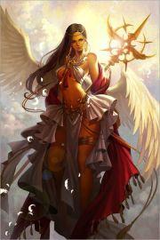 gold staff sun angel long dark