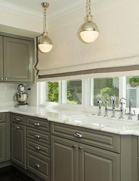 kitchen backsplash trim ideas window treatment with dark wood floors, taupe cabinet, white marble ...
