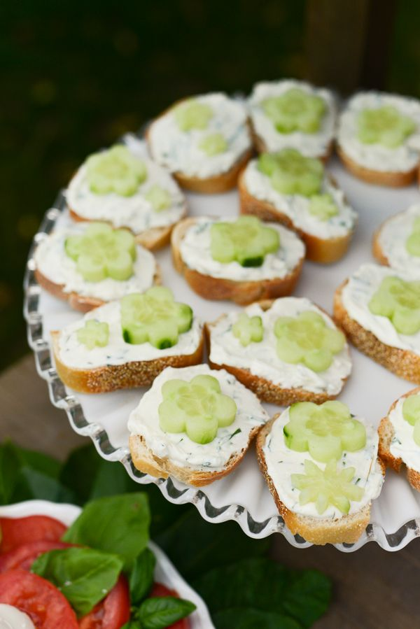 herbed cream-cheese and cucumber open faced sandwiches.  A delicious mothers day treat the kids can make for you!