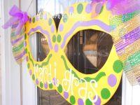 Mardi Gras Mask Wooden Door Hanger, Door Sign, Door ...