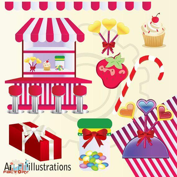 illustration candy shops