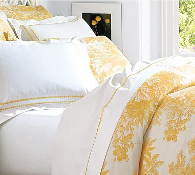 trifold at bottom of bed over matelasse Matine Toile
