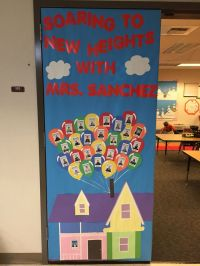 """Up"" themed door decoration for Teacher Appreciation Week"