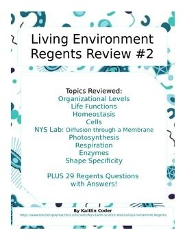 This Living Environment Regents Review Packet is the second of 5 packets to help students