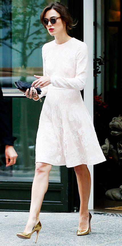 Keira Knightley White Button Up Denim