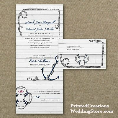 Nautical Design Seal n Send Invitation  this charming nautical wedding invitation features a