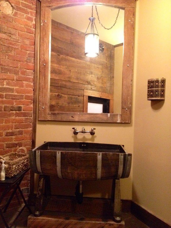 log home living room decorating ideas pillow covers wine barrel sink | repurposed pinterest barrels ...