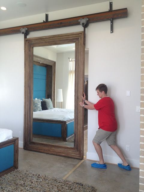 """Mirrored """"Barn"""" Door for our Master Closet"""