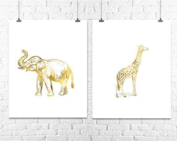 Elephant and Giraffe Gold Foil Prints