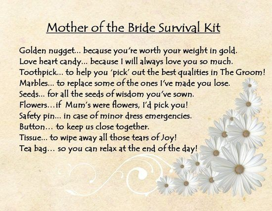 Mother Of The Bride Survival Kit Bridal Ideas