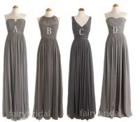 Charcoal grey bridesmaid dresses, long bridesmaid dresses