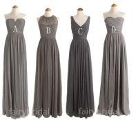 Charcoal grey bridesmaid dresses, long bridesmaid dresses ...