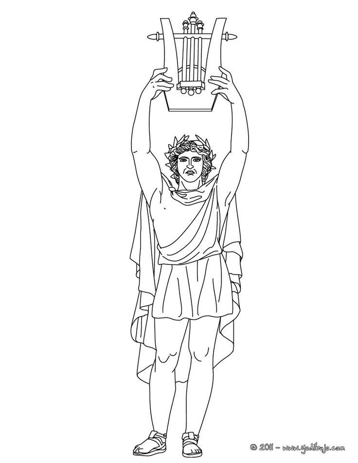 DIOS APOLO para colorear, dios griego de la música y de