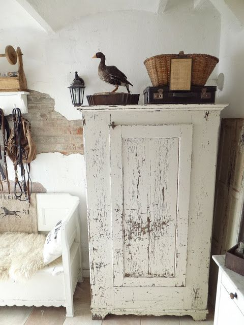 Love the shabby cabinet