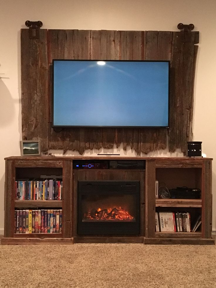 Barn Wood Entertainment Center with fire place insert  Tv stands  Pinterest  Places