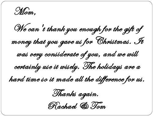 An example of how to write a thank you note for a gift of