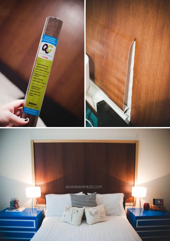 Use contact paper from the Dollar Tree to create a beautiful new wooden headboard  H O M E