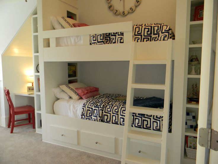 Love The Built In Bunk Bed And The Geometric Comforter