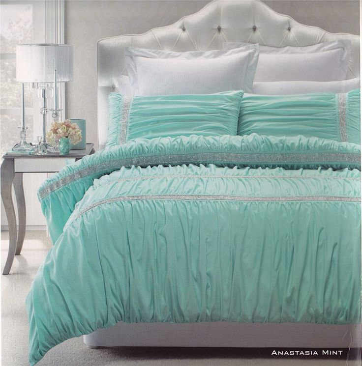 Anastasia Mint Aqua Embellished Soft Feel Queen King Quilt Doona Duvet Cover SET  eBay