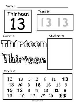 Worksheets, Numbers and Learning on Pinterest