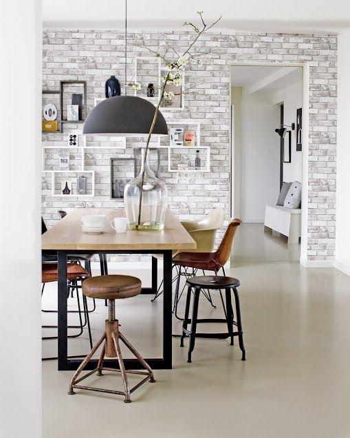 Baksteen Behang In De Eetkamer Brick Wallpaper In The