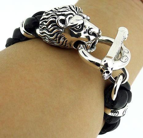 King Lion 925 Sterling Silver Mens Leather Bracelet 8 Big