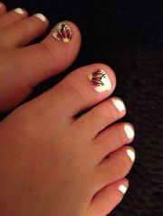 toenail design feet flower pedicure