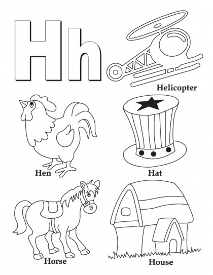my a to z coloring bookletter h coloring page