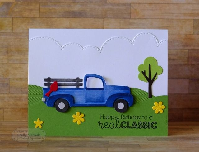 Card Truck Car Transportation Landscape Scene Card For