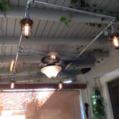 Farmhouse Kitchen Lights Remodel Dallas Patio Fan And With Galvanized Pipe | I Made This ...