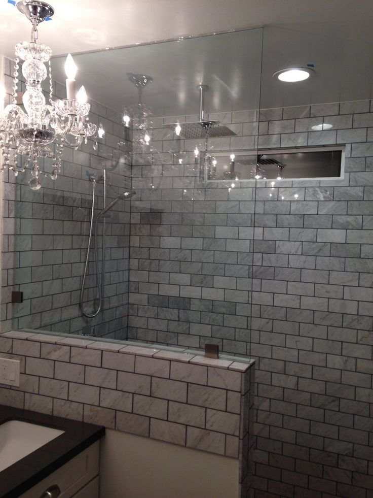 knee wall yes tile work no  Bathroom Remodel  Pinterest  Knee walls Shower walls and Glass