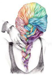 colorful braid drawing beautiful