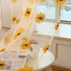 Valances For Kitchen Windows Franke Sinks Details About Tulle Window Sunflower Curtain Drape Divider ...