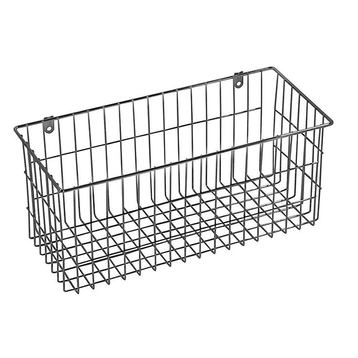 More Inside Large 4 Sided Wall Mount Wire Basket, Chrome