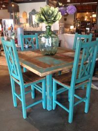 square dining table | turquoise counter height stools ...