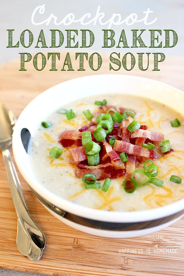Crockpot Loaded Baked Potato Soup Recipe – this is comfort food at its best, and it only takes 10 minutes of prep work! Great for