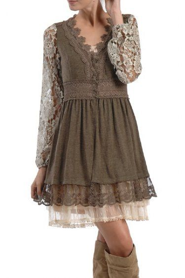 Women's Vintage Lace Sweater  – the under layer dress is a must with this one!