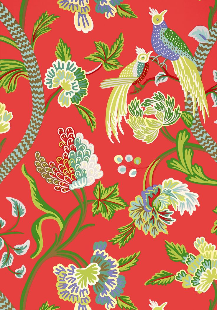 Fall Ceiling Wallpaper Janta Bazaar Red T64161 Collection Caravan From Thibaut