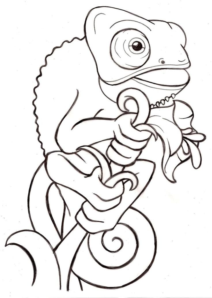 Cartoon Baby Veiled Chameleon Tattoo by ~Metacharis on