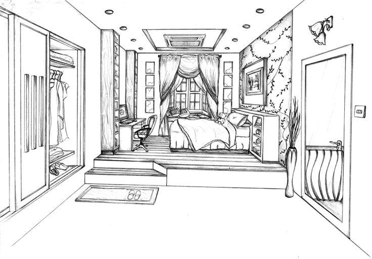 this is my one point perspective drawing of a designed