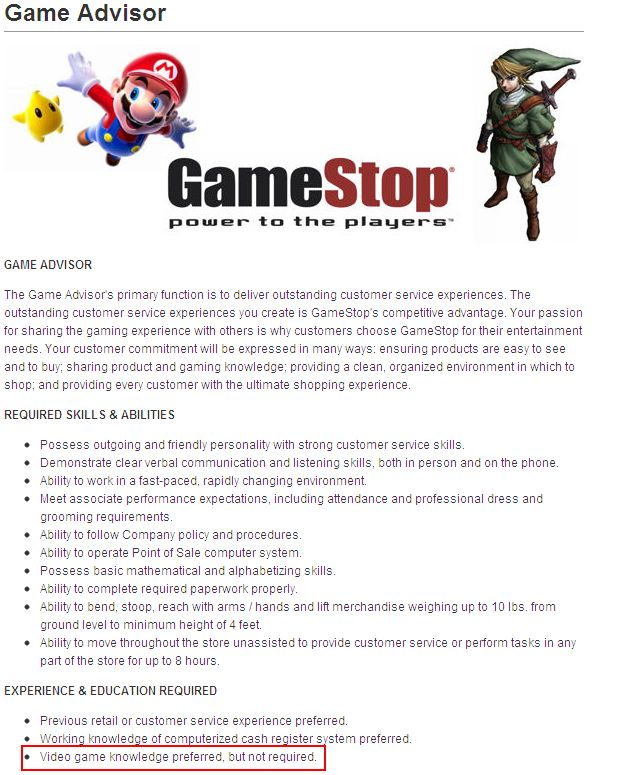 Game Software Knowledge GameStop Application  Video game knowledge preferred but not required